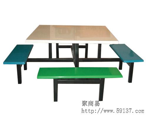 8人座分体条凳餐椅/玻璃钢服装餐桌/学校不锈钢餐桌新款波点餐台料图片