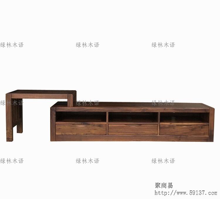 上海实木家具黑胡桃木客厅电视柜组合 全实木伸缩厅柜