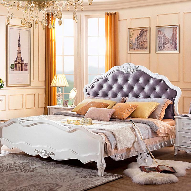 欧式实木白色公主床床头柜套餐